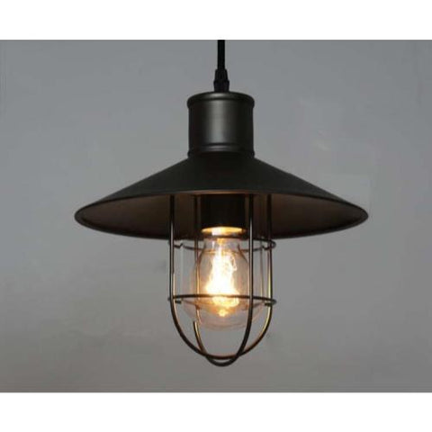 Pendant Lighting hanging Industrial Caged Vintage Style black shade (ED277P)