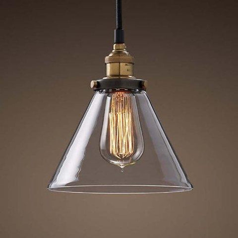 Pendant Lighting Hanging Industrial Vintage Style Glass Fixture brass finish (ED266P)