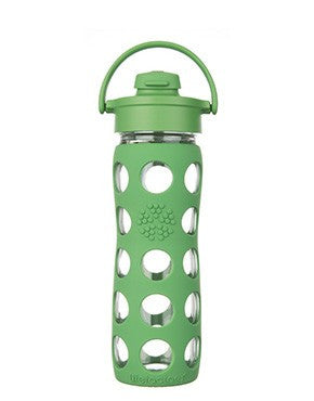 16 oz Glass Bottle with Flip Cap and Silicone Sleeve