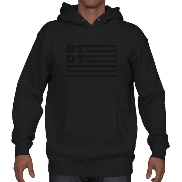 Black on black hooded sweatshirt with our subdued flag logo across the entire chest. Let others know you've been there, done that!