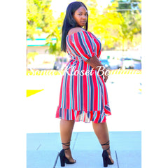 FLOUNCE STRIPE DRESS