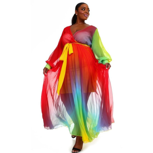 RAINBOW SPLASH MAXI DRESS