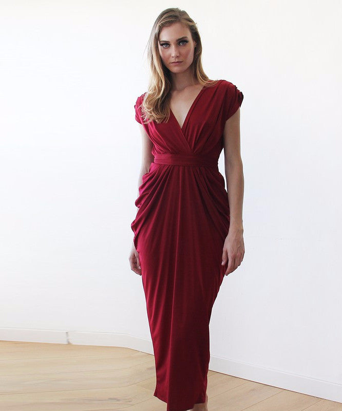 Wine Red Formal Maxi Dress