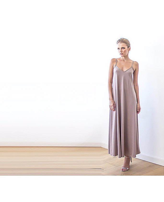 Taupe Maxi Casual Dress With Thin Straps