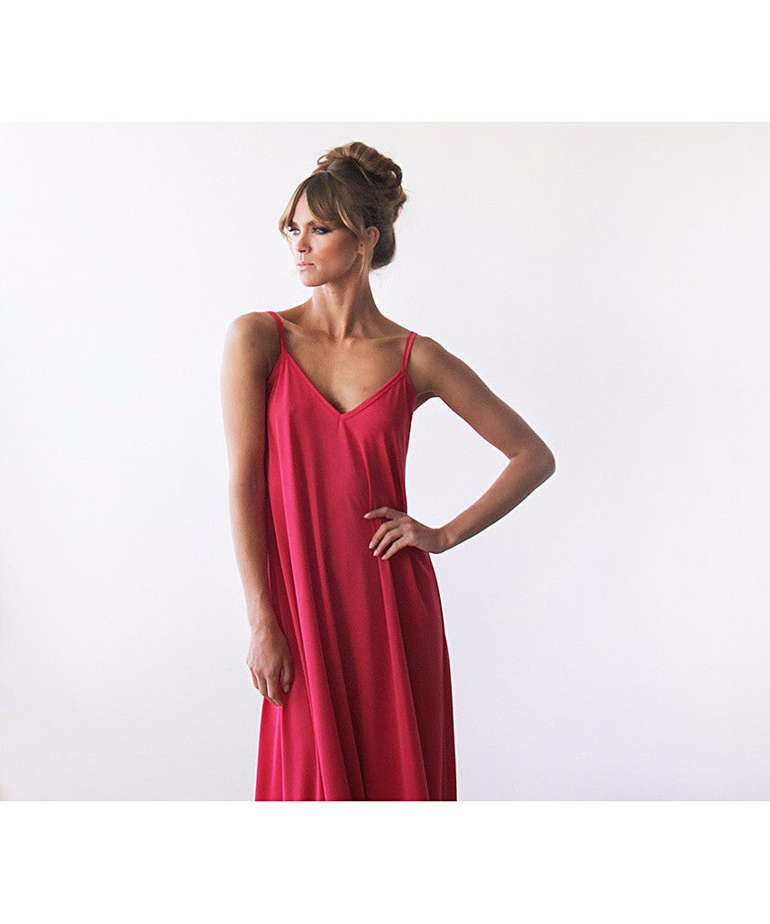 Red Maxi Straps Basic Dress