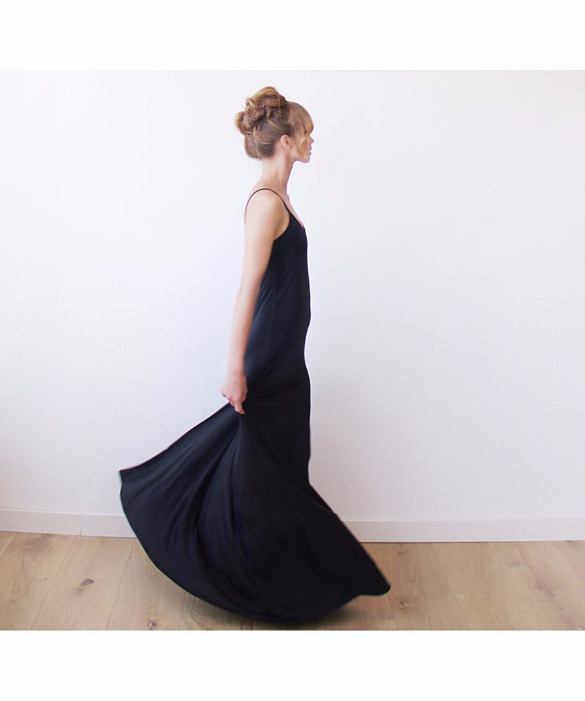 Black Maxi Casual Dress With Thin Straps