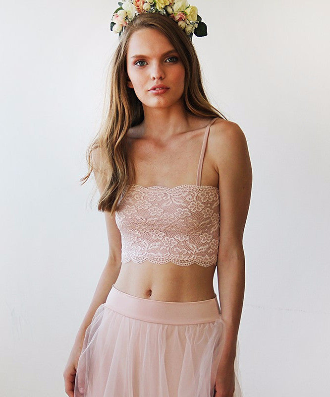 Pink Lace Stretchy Bandeau