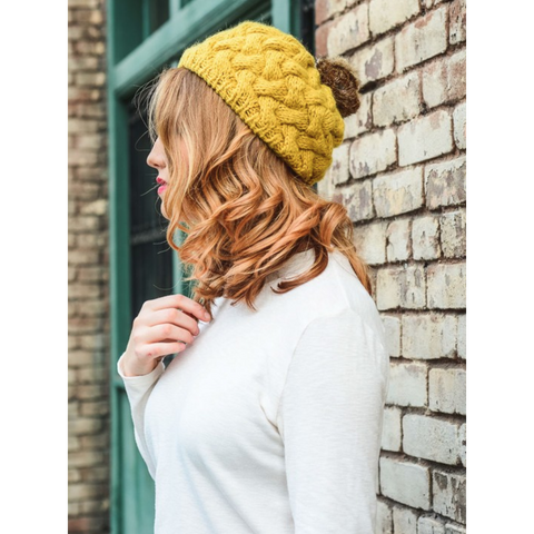 Beautifully Knit Mustard Beret