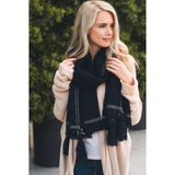 Long Black Tassel Frayed Blanket Scarf