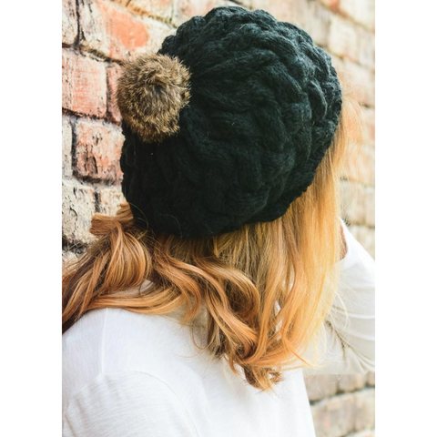 Beautifully Knit Black Beret