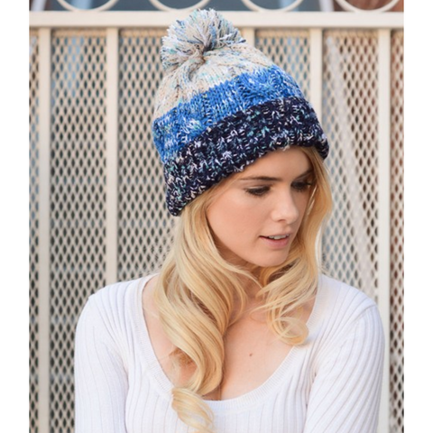 Blue Multi-Color Pom Knit Beanie