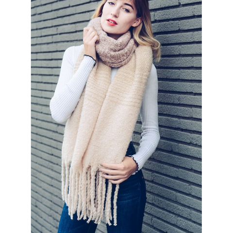 Super Soft Blush Ombre Knit Tassel Scarf