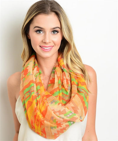 Stylish Orange Print Scarf