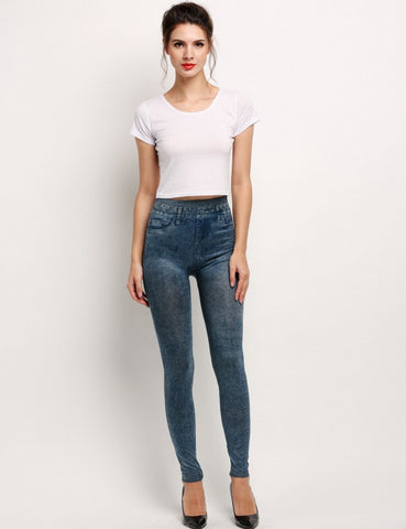 Womens Fitted Denim Jeggings (One Size) - MsBlueSleeve - 1
