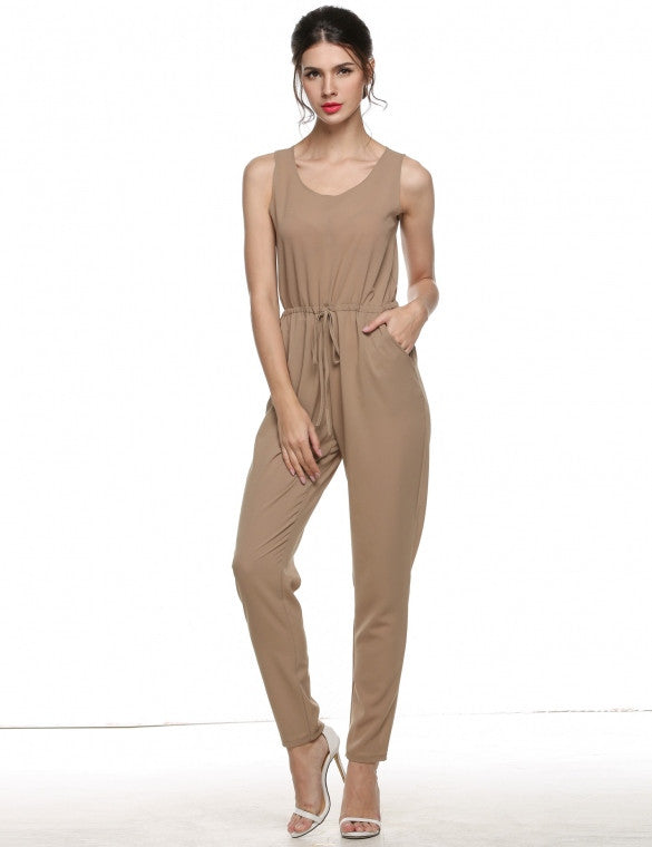 Womens Sleeveless High Waist Drawstring Long Jumpsuit - MsBlueSleeve