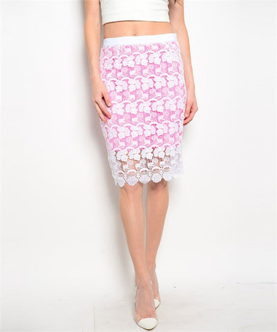 Pink & White Sheer Floral Skirt - MsBlueSleeve - 1