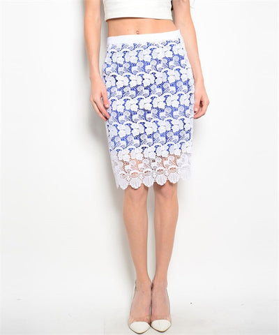 Blue & White Sheer Floral Skirt - MsBlueSleeve - 1