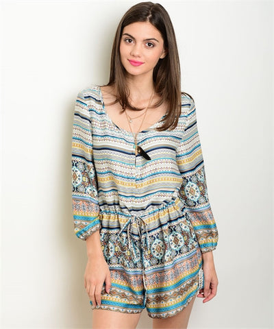Multicolored Romper for Women - MsBlueSleeve - 1