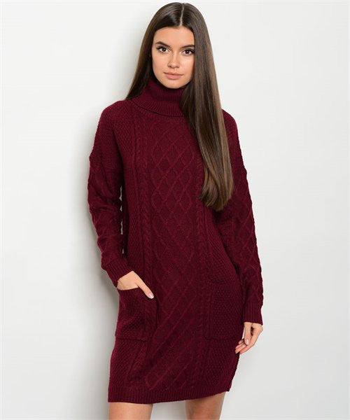 Burgundy Sweater Turtle Neck Sweater