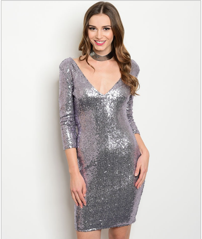 All Over Sequins Lavender Bodycon Dress