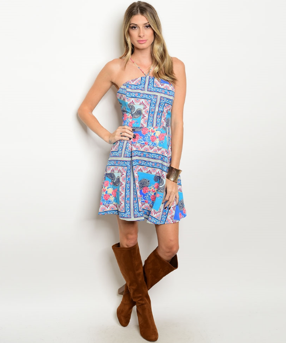 Turquoise Pink Halter Neck Printed Flare Dress
