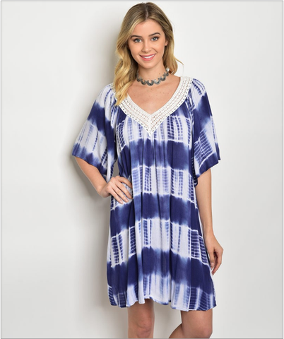 Navy Blue V-Neck Tie Dye Tunic Dress