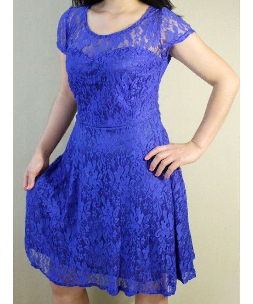 Short Sleeve Lace Cocktail Dress
