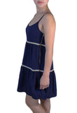 Womens Navy Spaghetti Strap Dress - MsBlueSleeve - 2