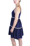 Womens Navy Spaghetti Strap Dress - MsBlueSleeve - 3