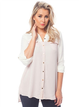 Blush Button-Up Chiffon Blouse with Color-Blocked Sleeve and Yolk - MsBlueSleeve - 1