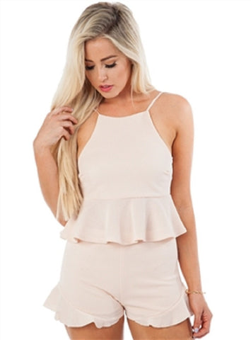 Feminine Blush Peplum Top and Shorts - MsBlueSleeve - 1