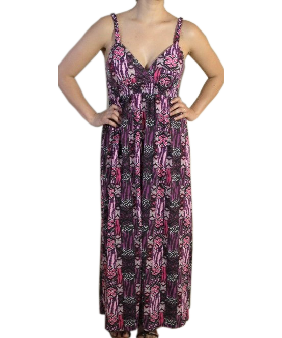 Pink Bohemian Print Maxi Dress (GENTLY WORN)