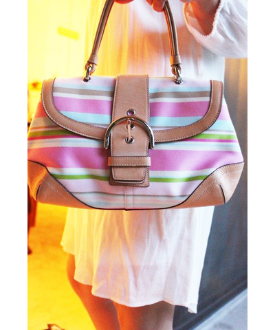 Coach Hampton Soho Multi-Color Stripe Satchel (Gently Used)