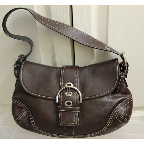 Dark Brown Coach Soho Leather Magnetic Flap Shoulderbag (Gently Used)