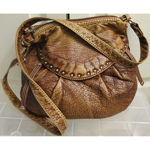 "Brown ""Red by Marc Ecko"" Leather metal-studded adjustable shoulderbag (Gently Used)"