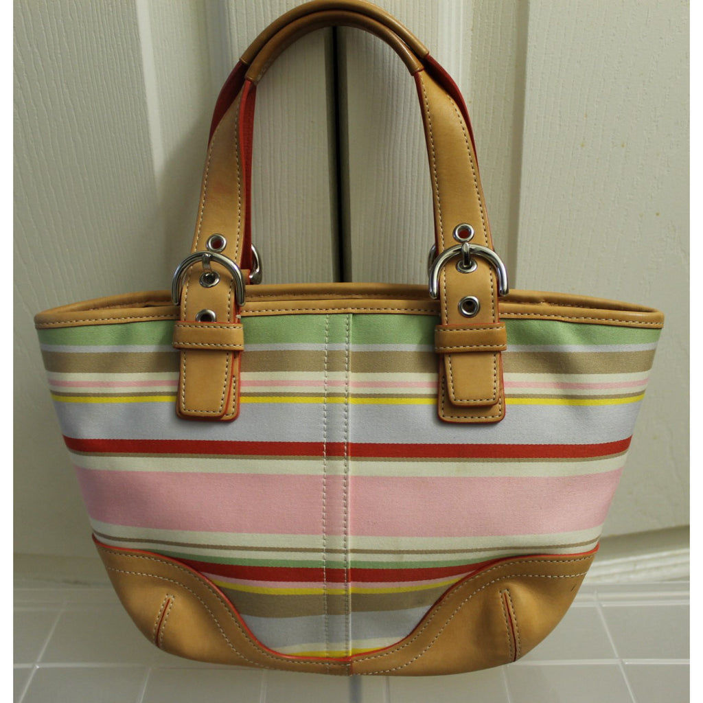 d93f2bf7a ... hot coach striped multicolored handbag canvas satchel soho gently used  20e6f d0b82