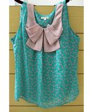 Chiffon Ribbon Print Top