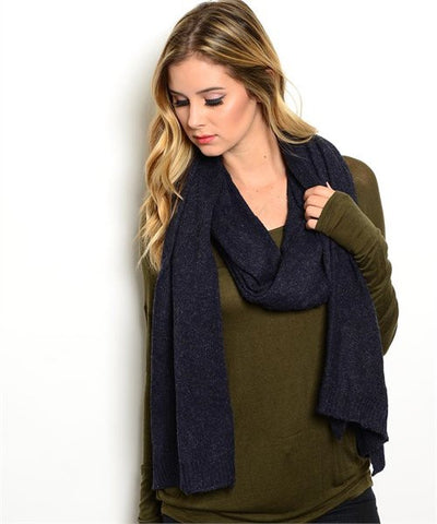 Long Navy Blue Scarf