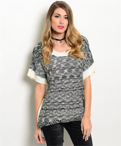 Womens Gray Top Sweater - MsBlueSleeve - 1