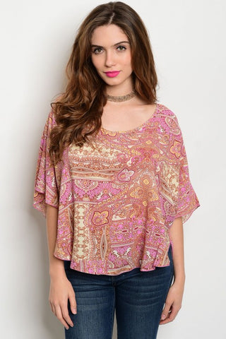 Peach Pink Loose Lady Top