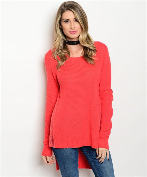 Coral Long Knitted Lace Sweater