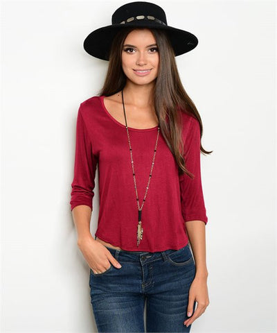 3/4 Sleeve Burgundy Back Chiffon Top