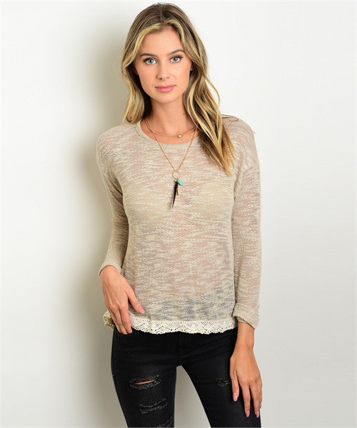 Nude Slub Knit Top