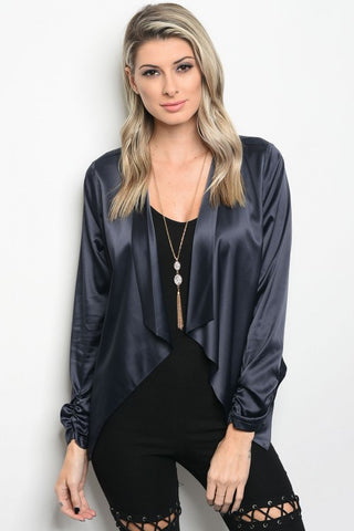 Navy Satin Blazer