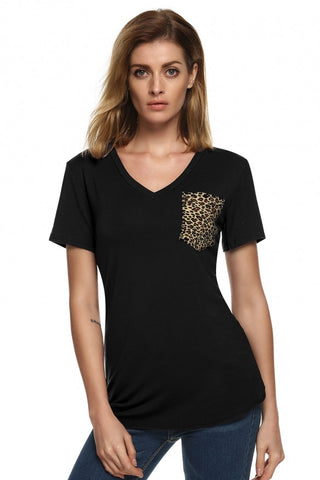Womens Leopard Pocket T-Shirt - MsBlueSleeve - 1