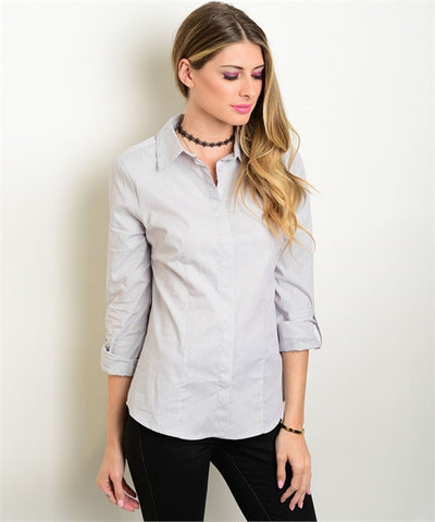 Womens Office Wear Button Down Long Sleeve Shirt Light Gray - MsBlueSleeve - 1