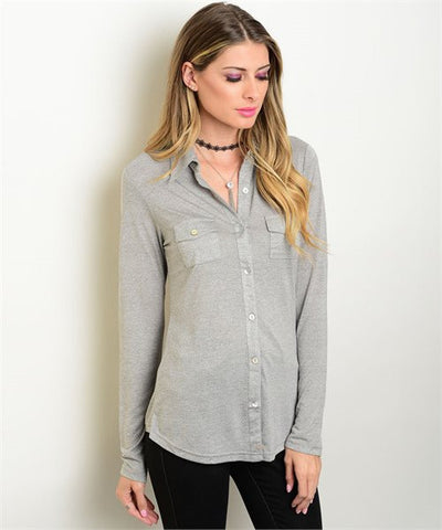 Womens Office Wear Button Down Long Sleeve Shirt Gray - MsBlueSleeve - 1