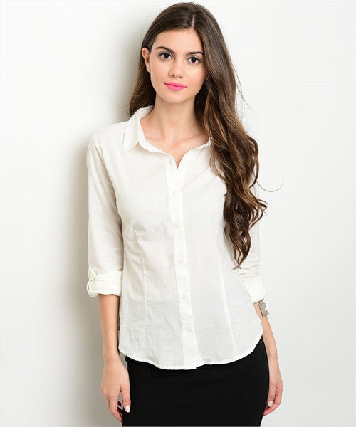 Office Wear Button Down Ivory - MsBlueSleeve - 1