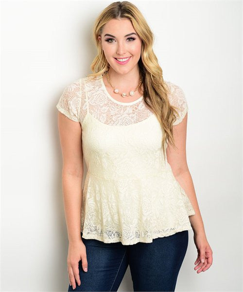 Womens Plus Size Cream Lace Peplum Top - MsBlueSleeve - 1