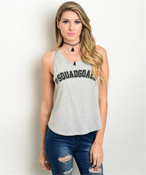 Gray Squadgoals Sleeveless Tank Top - MsBlueSleeve - 1